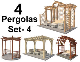 3D asset Pergolas Set 4