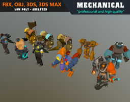 Low Poly Mechanical Mech Collection 02 - 3D model