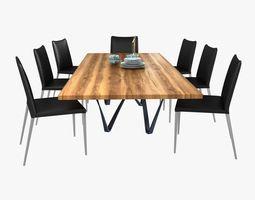3D model Modloft asti dining chair and genoa dining table