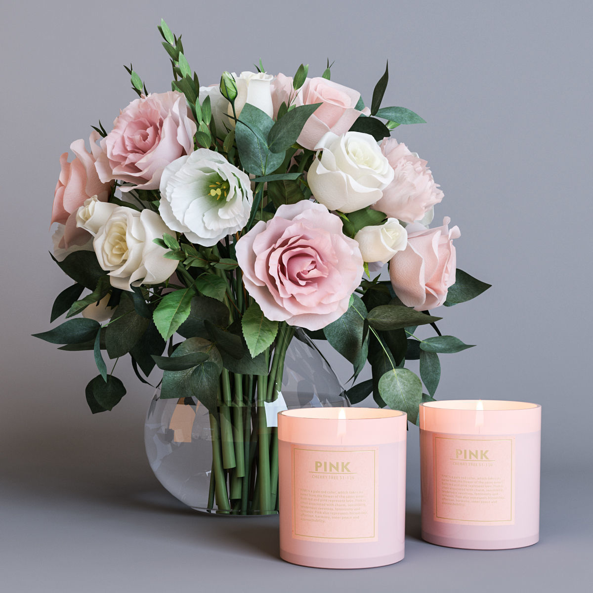 Flowers and candles 3D | CGTrader