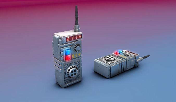 custom space intercom  3d model obj mtl c4d 1