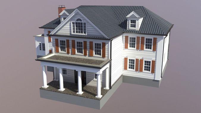 modern suburban house 5 3d model max obj mtl 3ds fbx 1
