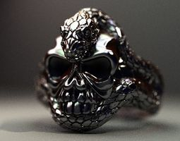 3D printable model Skull with a snake