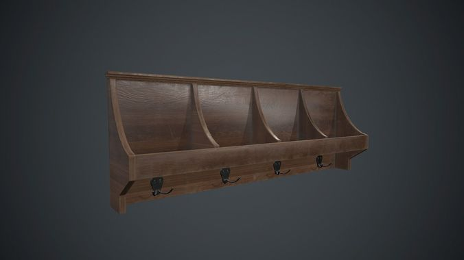 wooden wall hanger pbr game ready 3d model low-poly max obj mtl fbx 1
