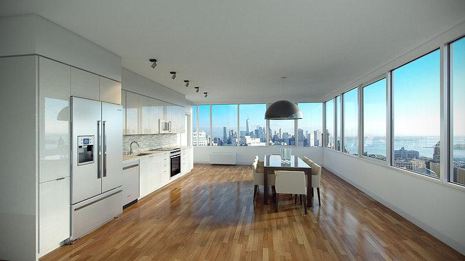photorealistic kitchen  3d model max 1
