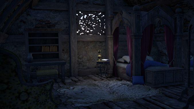 Medieval Bedroom 3D Model