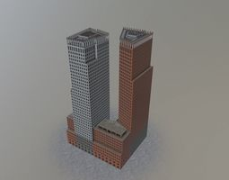 PBR den haags twin towers VR / AR ready 3d model