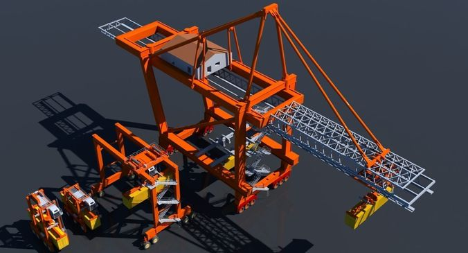 cargo crane collection 3d model max 3ds 1