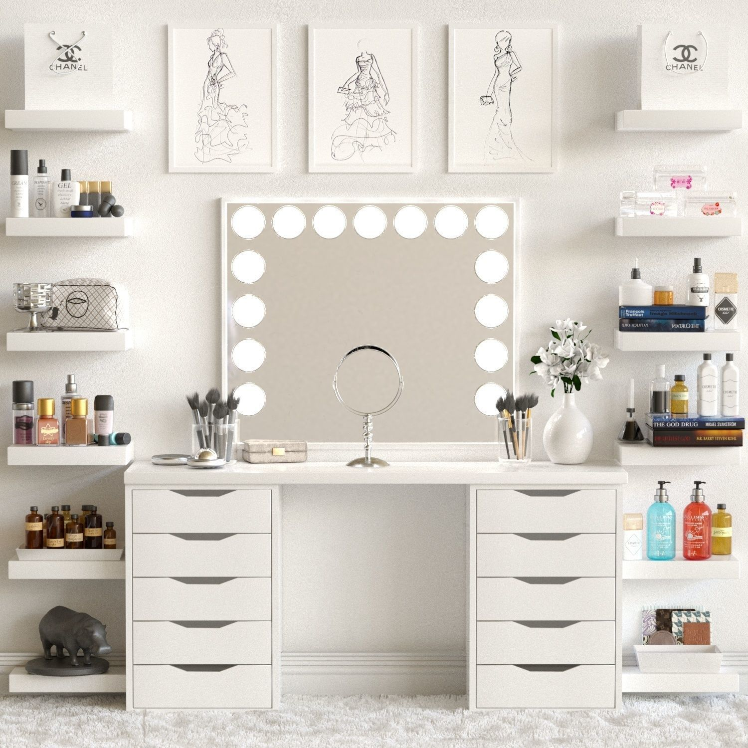 3d Model Dressing Table With Cosmetics For Lady Cgtrader