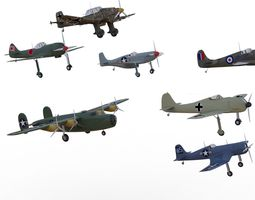 WW II airplanes collection 3D asset