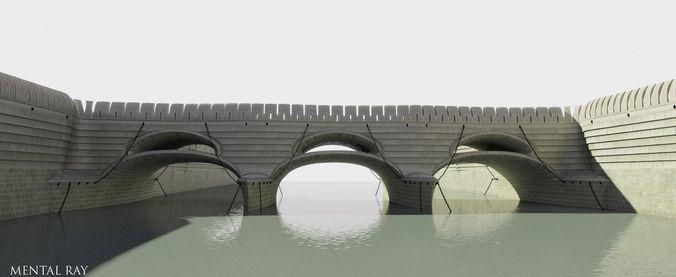 Bireme Bridge neoclassical structure3D model