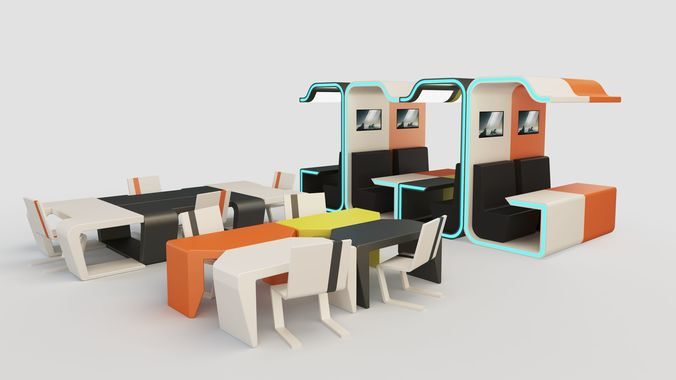 modular booth cubicle with desks and chair 3d model low-poly max obj mtl 3ds fbx mat 1