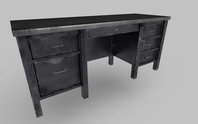 3d asset old metal desk 2 cgtrader rh cgtrader com old metal desk fan old metal school desk