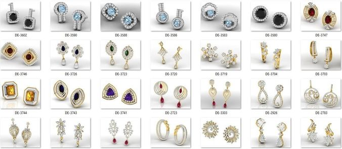 collection- bulk earrings-0009-3dm with stones-609 files 3d model obj mtl stl 3dm 1