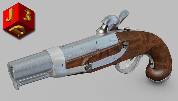 percussion cap pistol 3d model obj mtl 3ds c4d stl dae X 1
