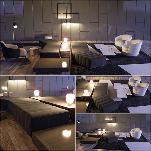 minotti set 2 3d model max obj mtl fbx 1