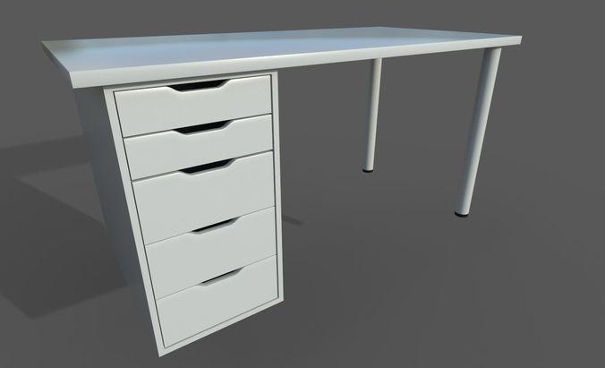 Ikea Linnmon Alex Work Desk 3d Asset Cgtrader