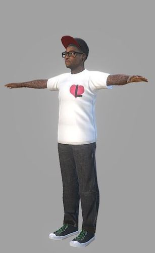black urban guy  3d model low-poly obj mtl fbx ma mb stl dae 1