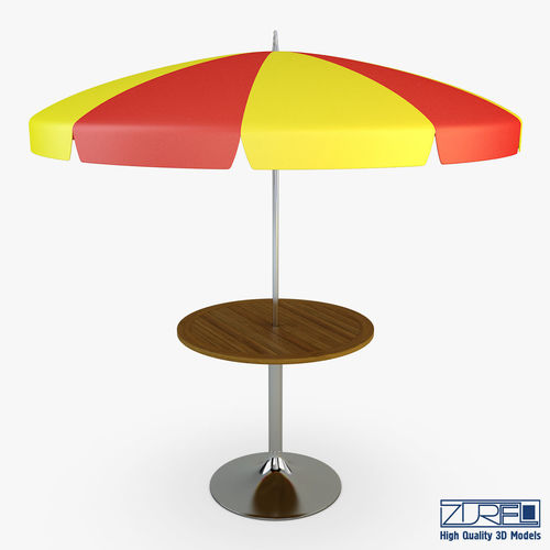 Patio Table With Umbrella V 2 3d Model Max Obj Mtl Fbx
