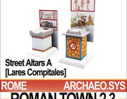 Roman Town Street Altars A 2 3 Low Poly Lares Compitales 3D Model