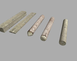 5 low poly wood pieces pack 3D model