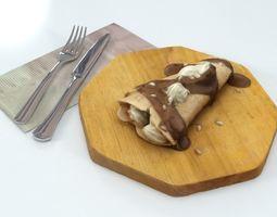 3D asset Pancake Chocolate Crepe