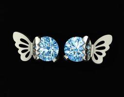 Baterfly stud earring 3D print model