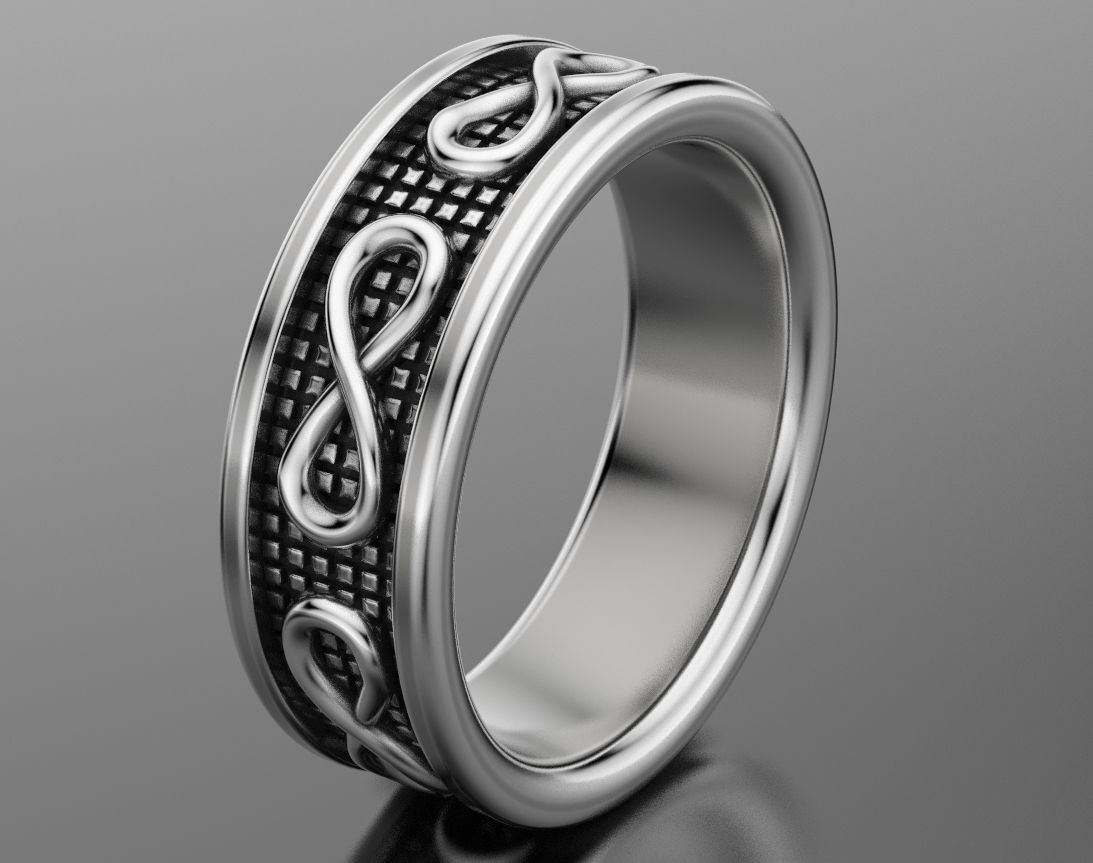 3d Print Model Stylish Wedding Ring With The Sign Of 1