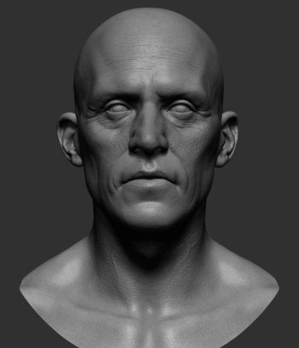 realistic male head 3d model obj mtl ztl 1