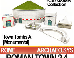 Roman Town Monumental Tombs A 2 4 Low Poly 3D Model