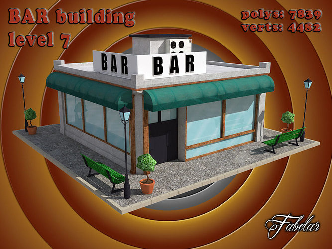 bar level 3d model max obj mtl 3ds fbx c4d dae 1