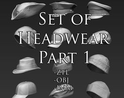 set of headwear part 1 3d model