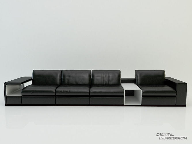 Contemporary leather sofa3D model