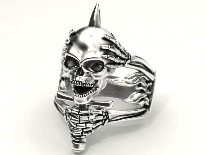 skull and bone ring 3 3d model stl 3dm 1