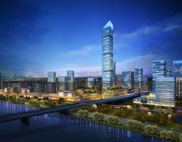 3D Skyscraper Business Center apartment-building