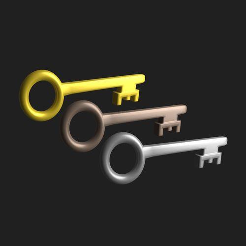 key cartoon  3d model obj mtl 3ds fbx blend dae x3d 1