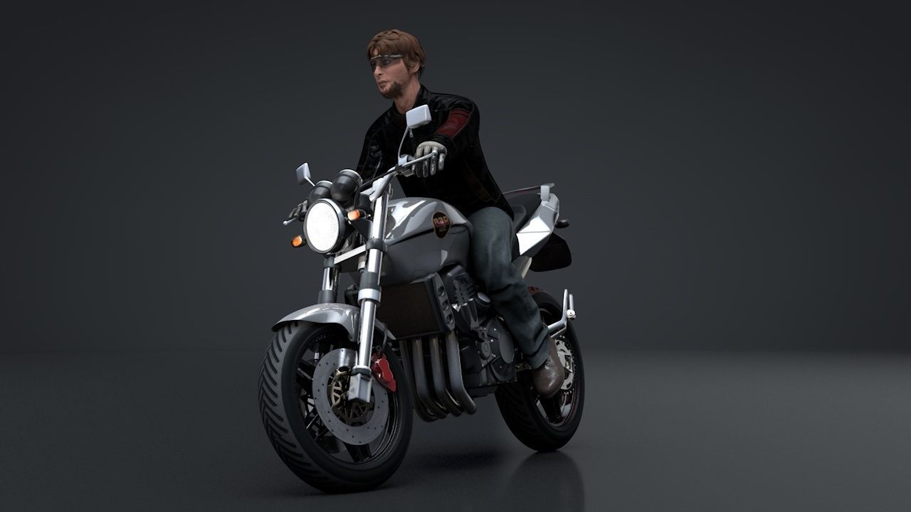 Sport Motorcycle with Rider Rigged C4D