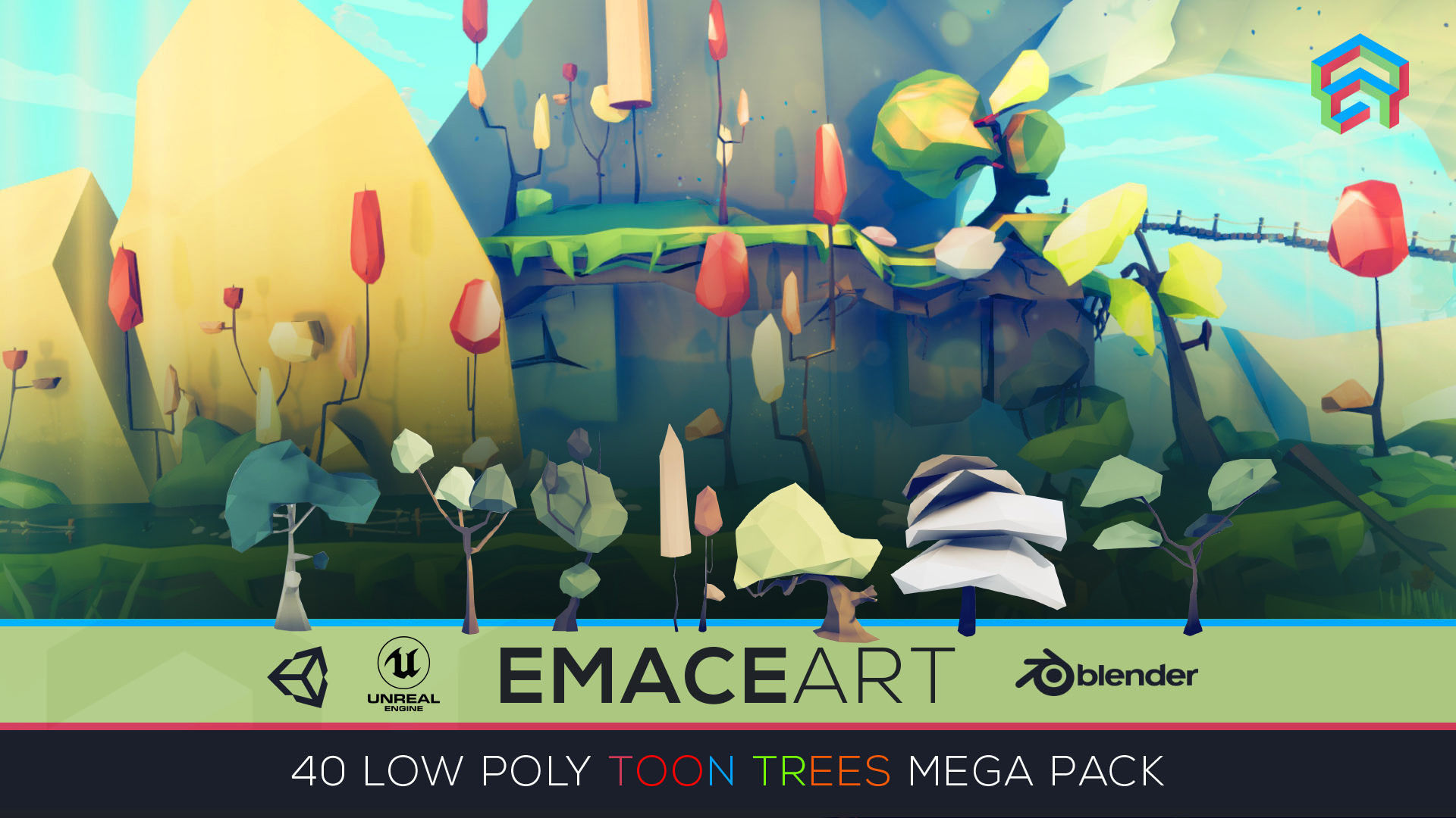 Low Poly Nature Project - Starter Trees Pack Toon Edition Set