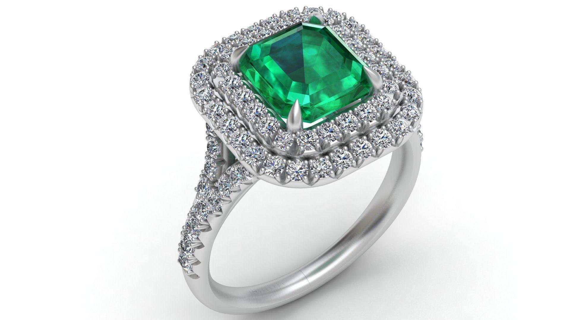 Tiffany Emerald Diamond Gold Engagement Ring