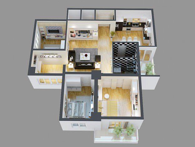 3d Model Detailed House Cutaway View 4 3d Model Max Obj Mtl Tga 2