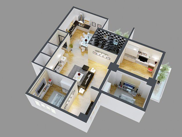 3d model detailed house cutaway view 4 cgtrader for Model house interior design