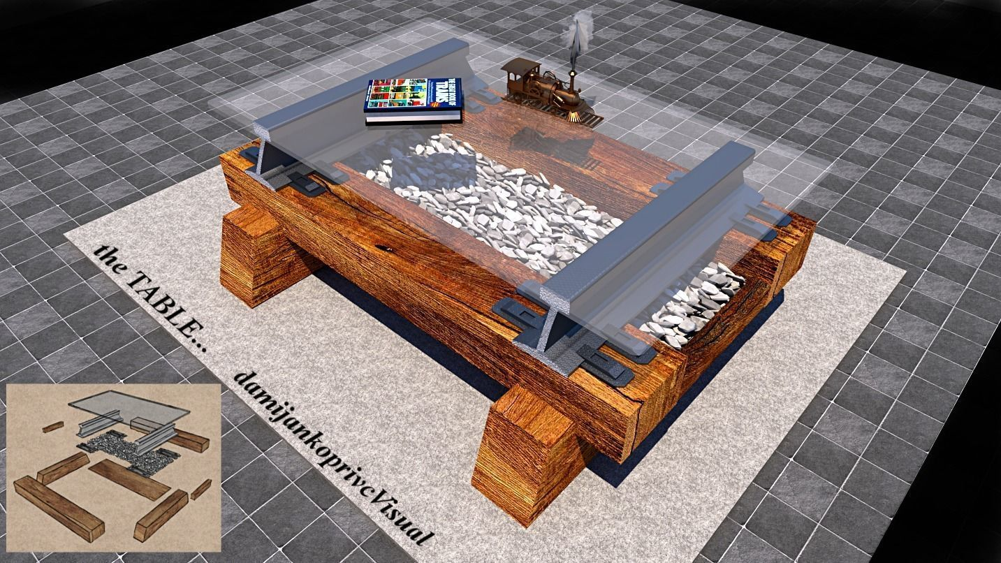 table 3D model railway track theme | 3D model