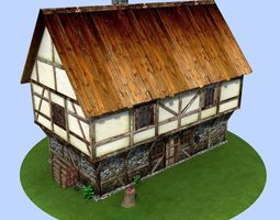 3D model low-poly Medieval house village building