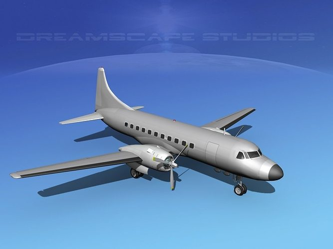 convair cv-340 bare metal 3d model max obj mtl 3ds lwo lw lws dxf stl 1