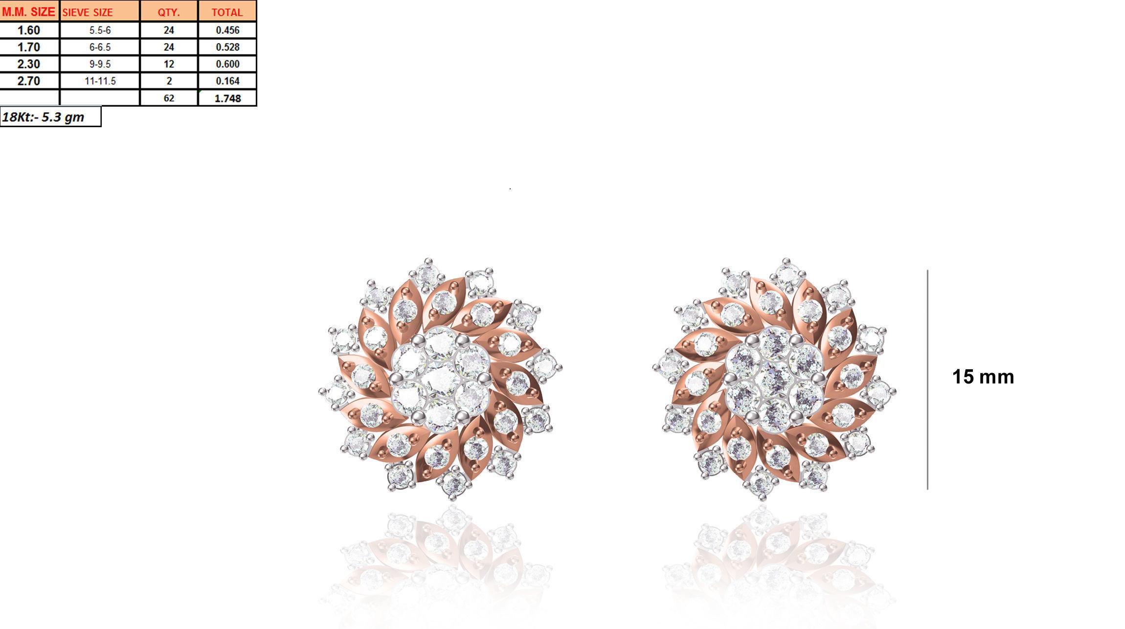 Flower Shaped Earrings With Diamonds 10 Print Model