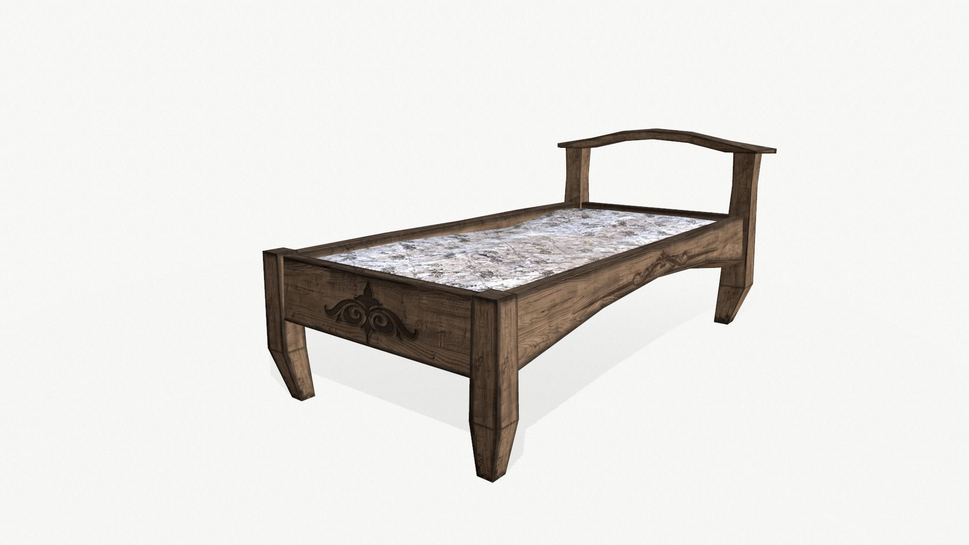 3d Model Low Poly An Old Wooden Bed Cgtrader