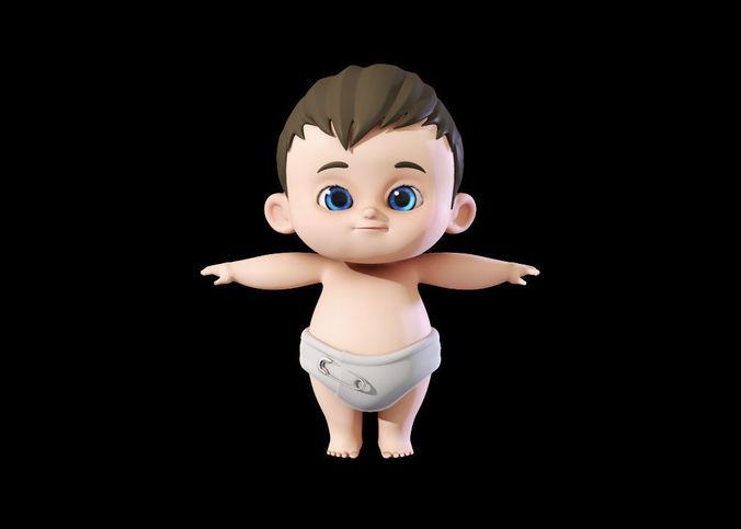 cute baby boy 3d model 3d model obj mtl fbx ma mb tga 1