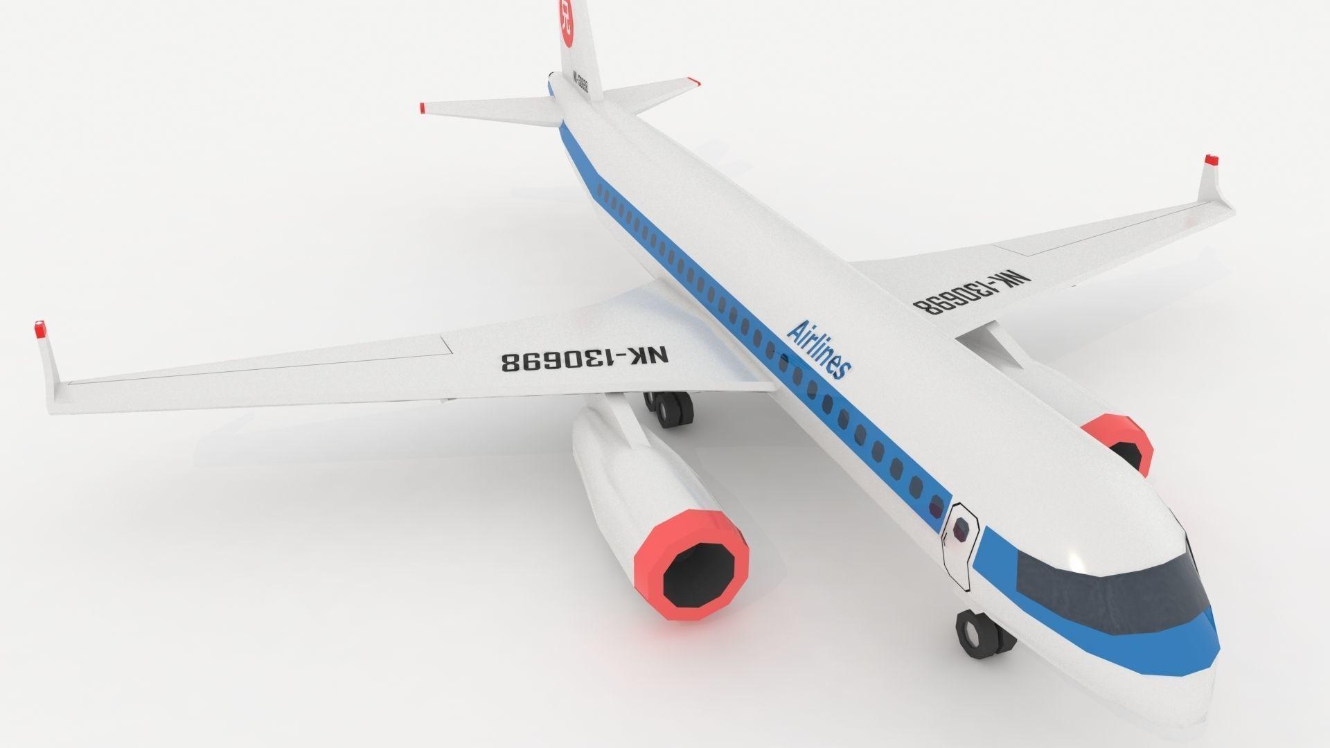 Airplane 767 Stylized low poly