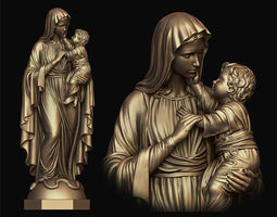 Mary and child statue 3D print model
