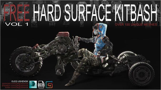 free hard surface kitbash volume 1 3d model max obj mtl 1